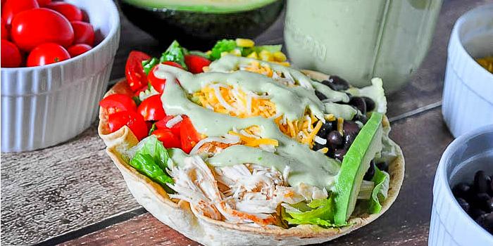 Great Chicken Taco Salad Recipe With A Jalapeno And Avocado Greek Yogurt Dressing    A Light Lunch