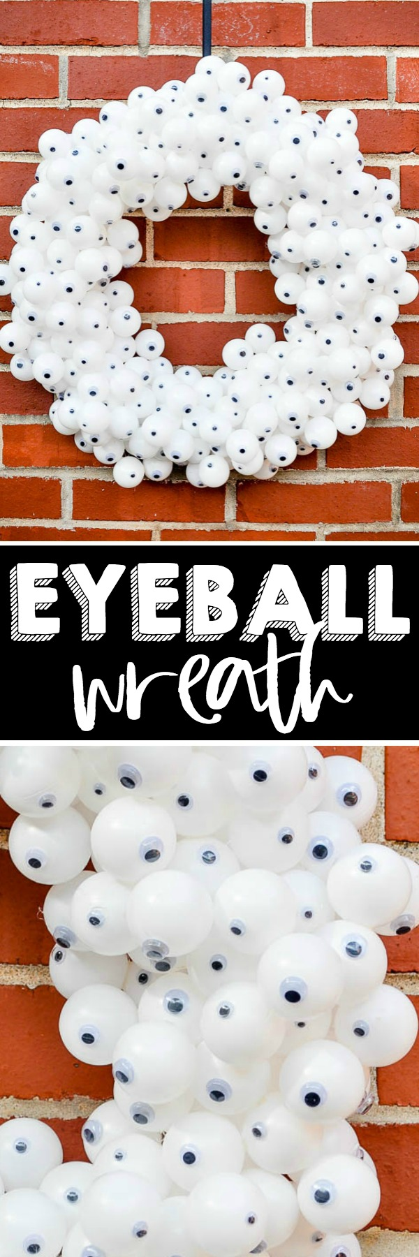 Create a fun and spooky Eyeball Wreath for your DIY Halloween decor! Made with inexpensive products and a lot of hot glue, it's an easy Halloween Wreath your trick or treaters will love! | The Love Nerds