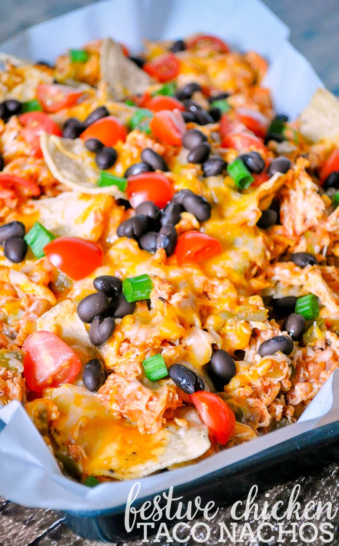 Festive Chicken Taco Nachos - A delicious recipe for parties or Game Day that can be ready in just 15 minutes!   The Love Nerds #StockUpOnPace #JewelOsco #ad