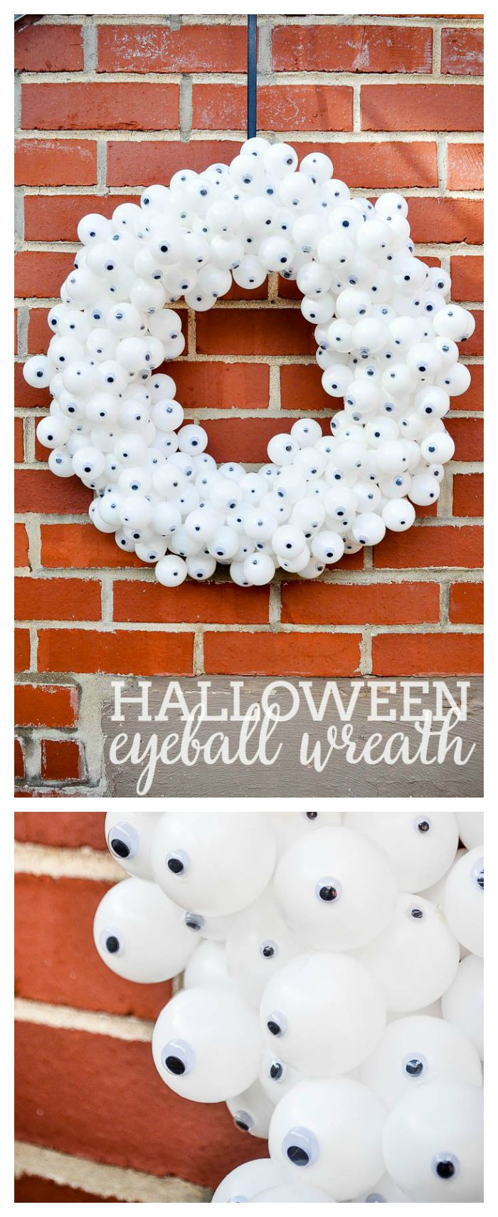 DIY Halloween Craft - This playful Eyeball Wreath is perfect holiday decor. Only taking a few materials to create this fun Halloween wreath. | The Love Nerds