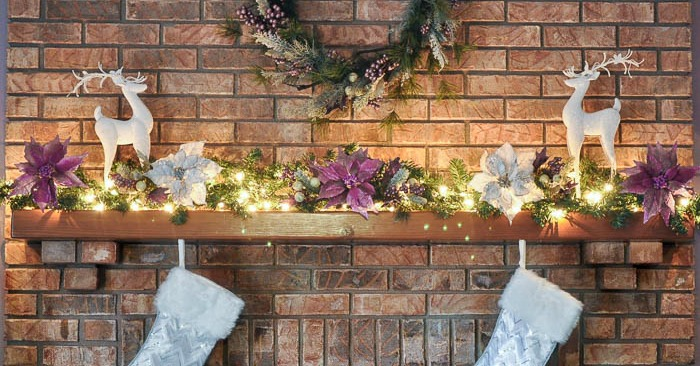A Berry Happy Christmas Mantel - This holiday decor went up in under 30 minutes and will look stunning all season long, especially when all lit up! | The Love Nerds #ad #AtHomeforChristmas #AtHomeFinds