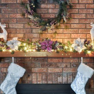 A Berry Merry Christmas Mantel - This holiday decor went up in under 30 minutes and will look stunning all season long, especially when all lit up! | The Love Nerds #ad #AtHomeforChristmas #AtHomeFinds
