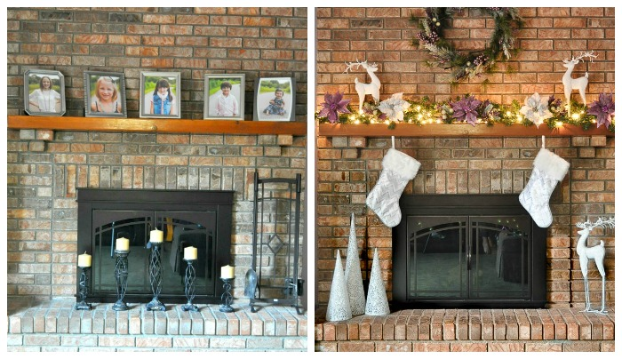A Berry Merry Christmas Mantel - This holiday decor went up in under 30 minutes and will look stunning all season long, especially when all lit up!   The Love Nerds #ad #AtHomeforChristmas #AtHomeFinds