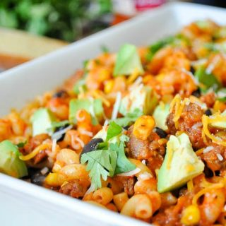 Cheesy Fiesta Pasta Recipe - A fun new pasta dinner that will have everyone asking for seconds! | The Love Nerds #ad #SimmeredInTradition