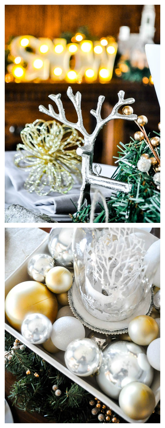 Mixed Metallic Christmas Decor - Create a gorgeous winter wonderland with a blend of silver, soft gold and white! | The Love Nerds #ad #AtHomeforChristmas #AtHomeFinds