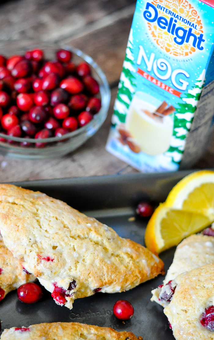 Cranberry and Orange Egg Nog Scones make a delicious holiday brunch recipe! The fresh citrus flavors combine perfectly with the creamy egg nog. | The Love Nerds #ad @InDelight