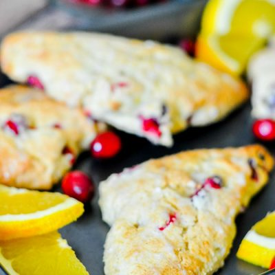 Peach and Cranberry Scones with White Chocolate