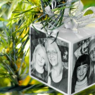 Photo Block Ornament - The perfect personalized Christmas ornament to celebrate a special moment or give as a handmade gift! | The Love Nerds #ad #SaveYourMemories