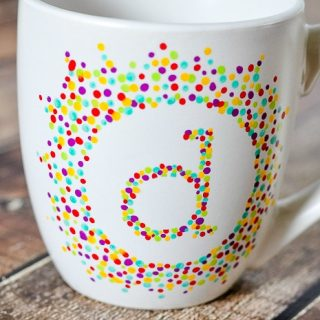 Painted Initial Mug - Do you love handmade gifts ideas? Then you'll love this easy and fun personalized! | The Love Nerds