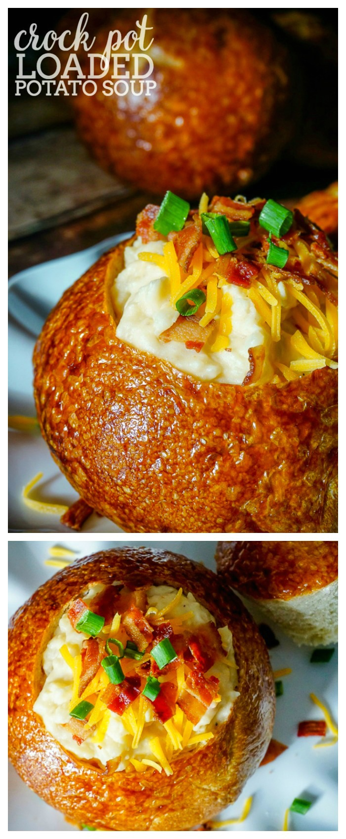 CROCK POT LOADED POTATO SOUP RECIPE - Make dinner time easier with a hearty, cheesy slow cooker version of this classic soup!   The Love Nerds