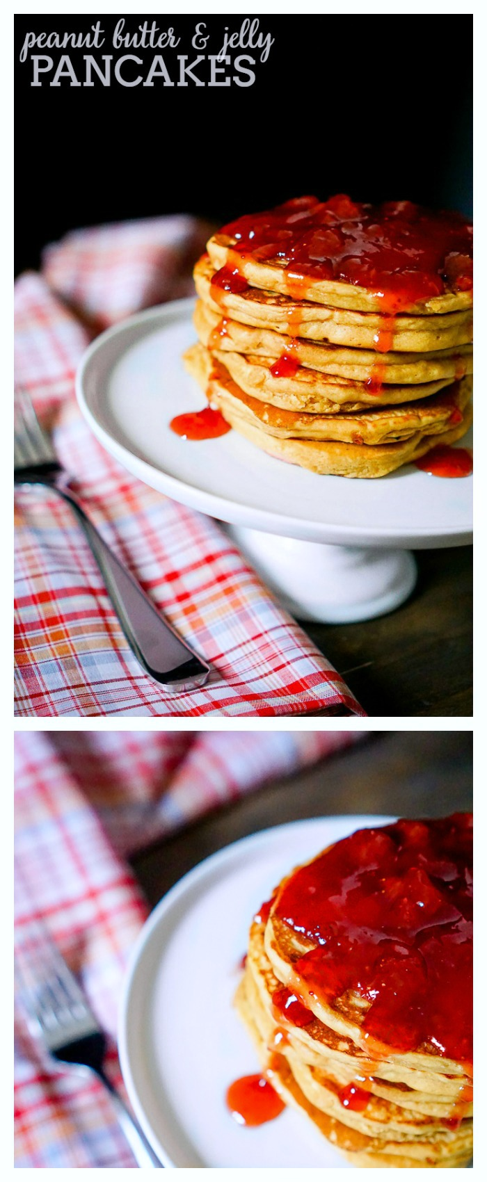 PEANUT BUTTER AND JELLY PANCAKES - A fun breakfast recipe and twist on the classic flavor combination! Enjoy a warm, fluffy peanut butter pancake with your favorite jelly on top! | The Love Nerds