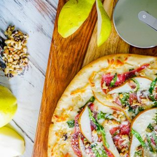 Spinach Pear Prosciutto Pizza with Honey and Walnuts