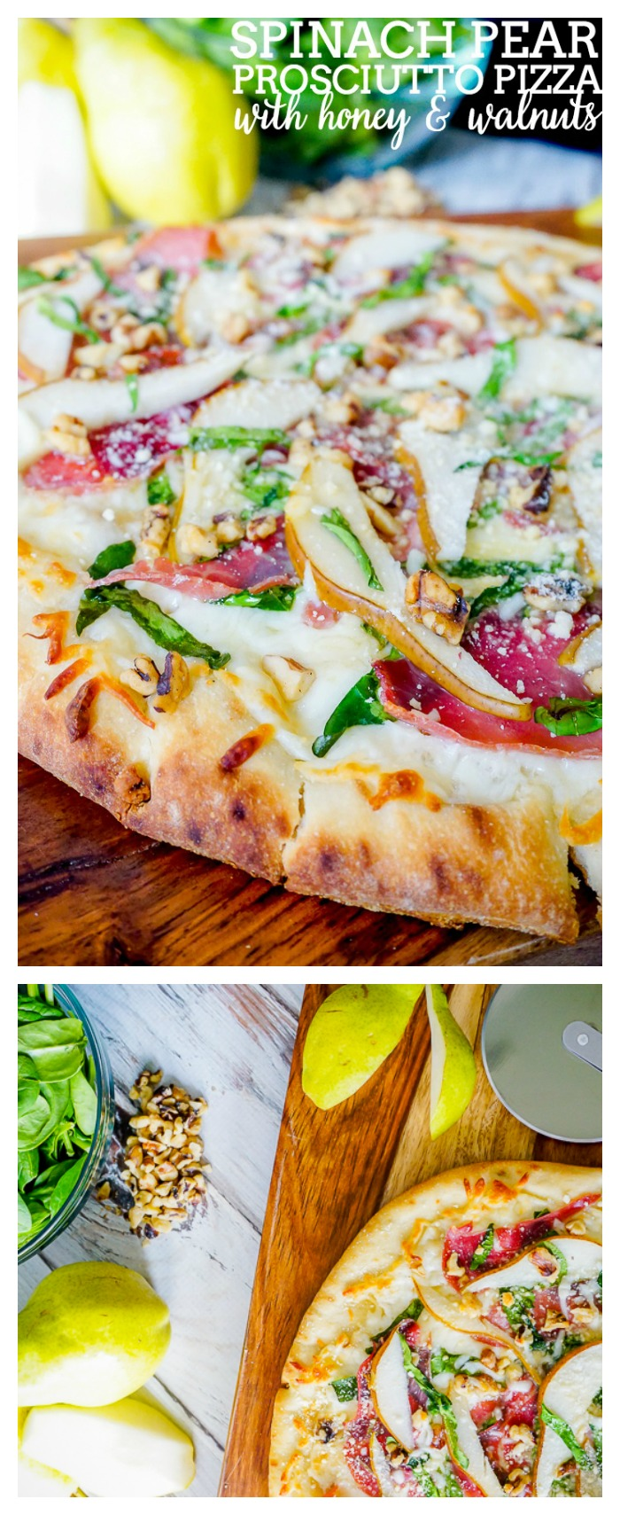 Spinach Pear Prosciutto Pizza with Honey and Walnuts is my favorite flatbread recipe so far! It's easy to make but will make quite the impression!   The Love Nerds