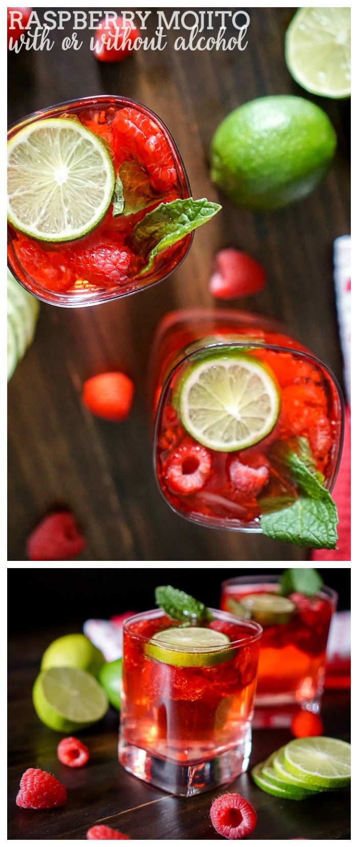 Razzle Red Raspberry Mojito {With or Without Alcohol} - Perfect flavor combination of raspberry, lime and mint in a gorgeous red color. | The Love Nerds