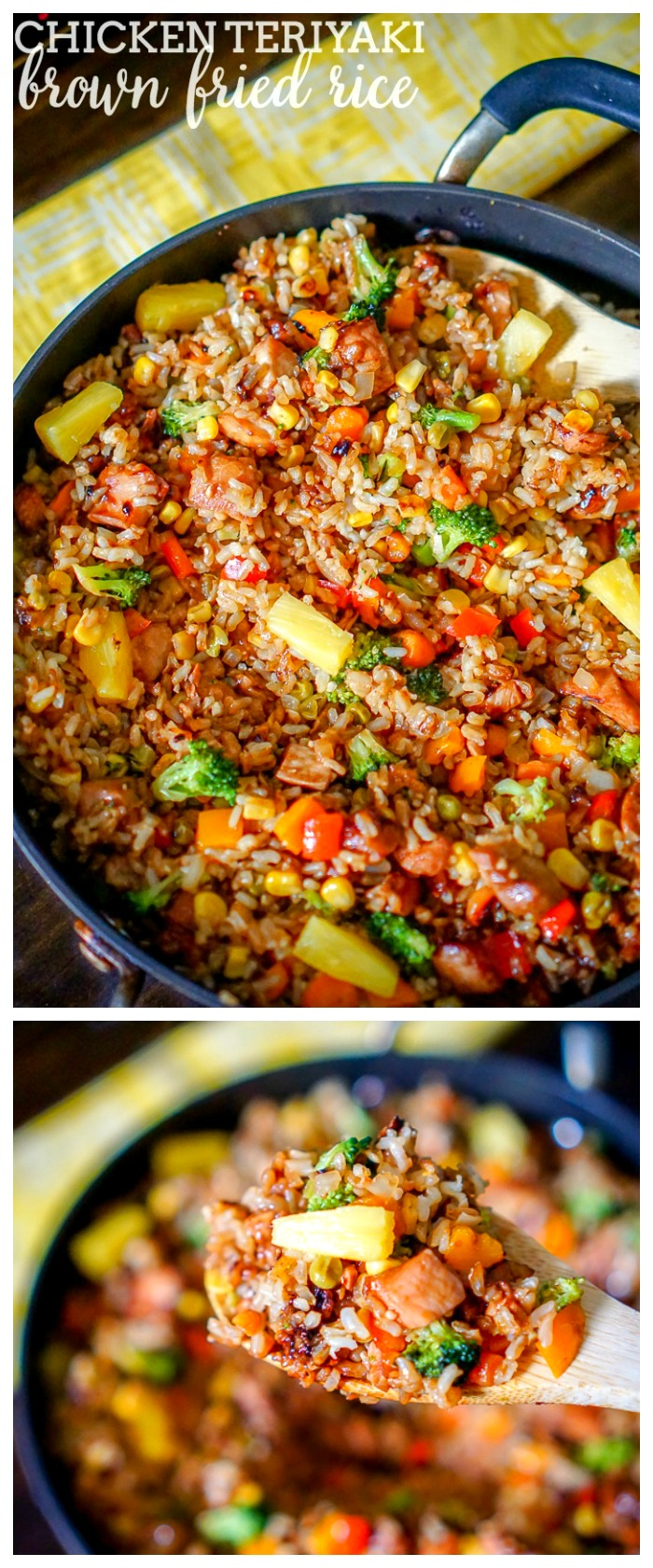 Chicken Teriyaki Brown Fried Rice - This one pot meal is filled with lots of of veggies and makes a delicious easy dinner idea! | The Love Nerds AD MealsWithMinute