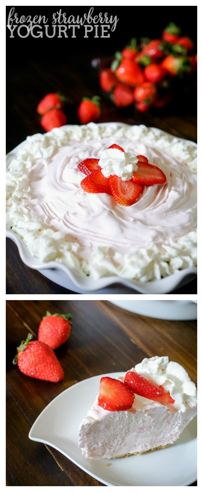 Frozen Strawberry Yogurt Pie - A quick prep pie recipe that is perfect for spring and summer! | The Love Nerds