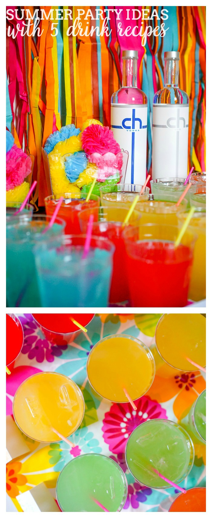 Colorful summer party and delicious tropical drinks the for Summer drinks for party