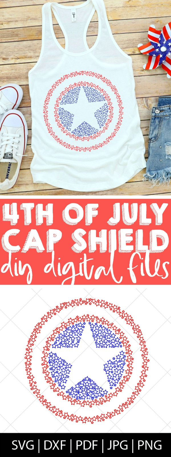 DIY Captain America Shield SVG FILE - Make your own DIY Captain America Shirt with a design that is perfect for 4th of July celebrations! This Cap Star Shield design is perfect for Captain America birthday parties as well as 4th of July party decor, invites, attire and more! | THE LOVE NERDS #disneyside #marvel #captainamericaprojects