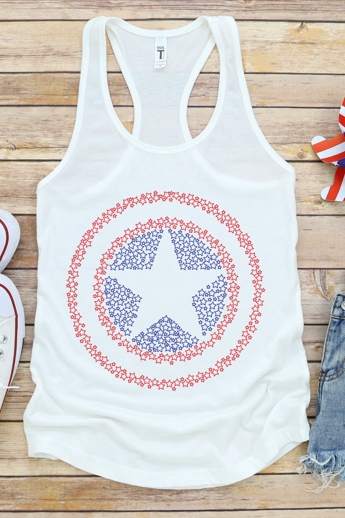 Red White and Blue 4th of July tank top with a Captain America Shield design made up of little stars