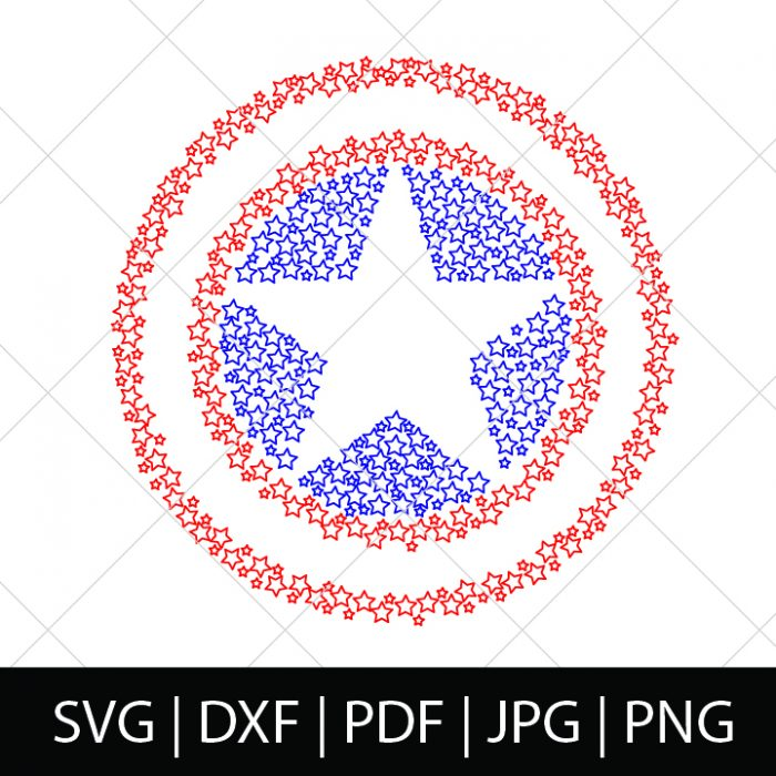 Captain America Shield SVG File - Cap Shield made of little stars that is perfect for a 4th of July celebration