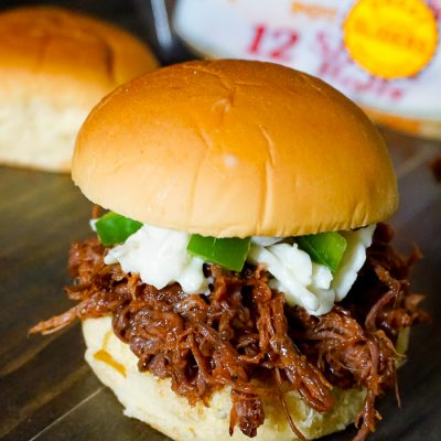 Crock Pot BBQ Brisket Sandwich with Jalapeno Cole Slaw