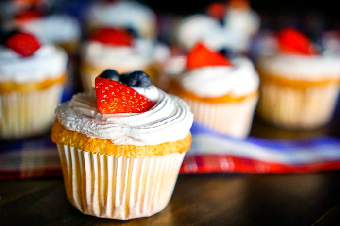 Light Angel Food Cupcakes with Strawberry Whipped Topping