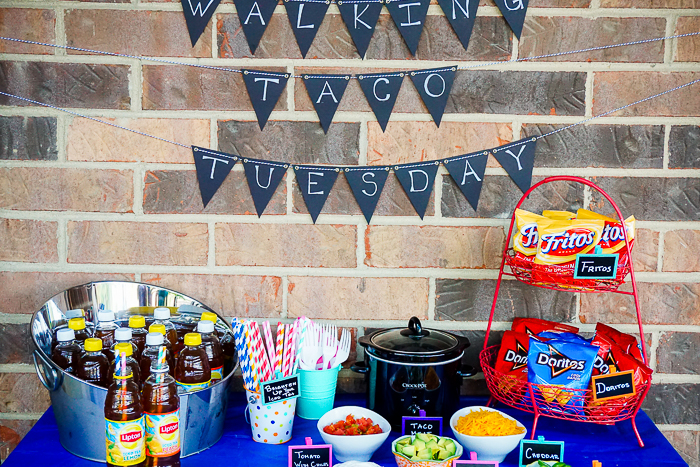 Get creative with your taco night and make a Walking Taco Tuesday Bar instead! It's perfect for summer, especially for outdoor eating. Plus, it's easy to customize tacos with lots of topping options. | The Love Nerds #BrightBites #ad
