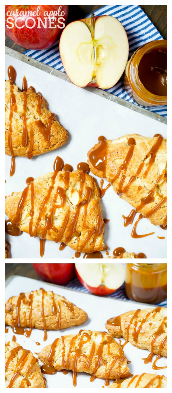 Caramel Apple Scones - Start your fall mornings and holidays off with a delicious caramel apple scone next to your cup of coffee!   The Love Nerds #ad #CartwheelForCreamer