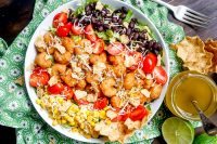Crispy Shrimp Taco Salad with Honey Lime Vinaigrette