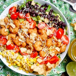 Crispy Shrimp Taco Salad with Honey Lime Vinaigrette