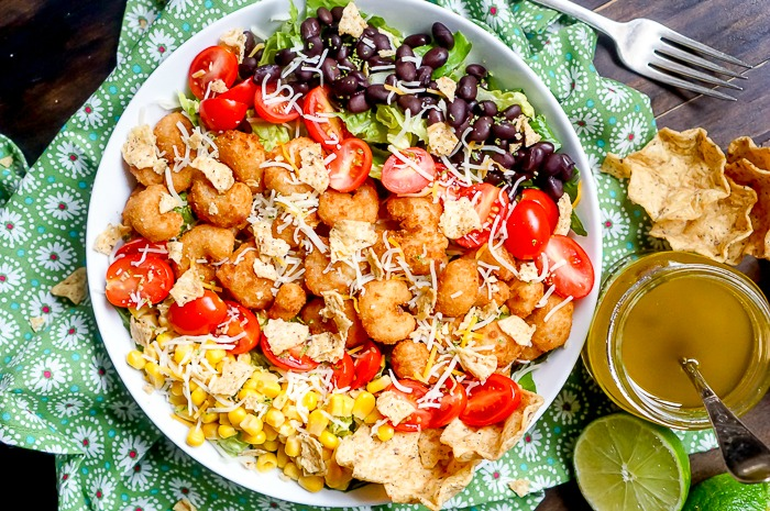 Crispy Shrimp Taco Salad With Honey Lime Vinaigrette The