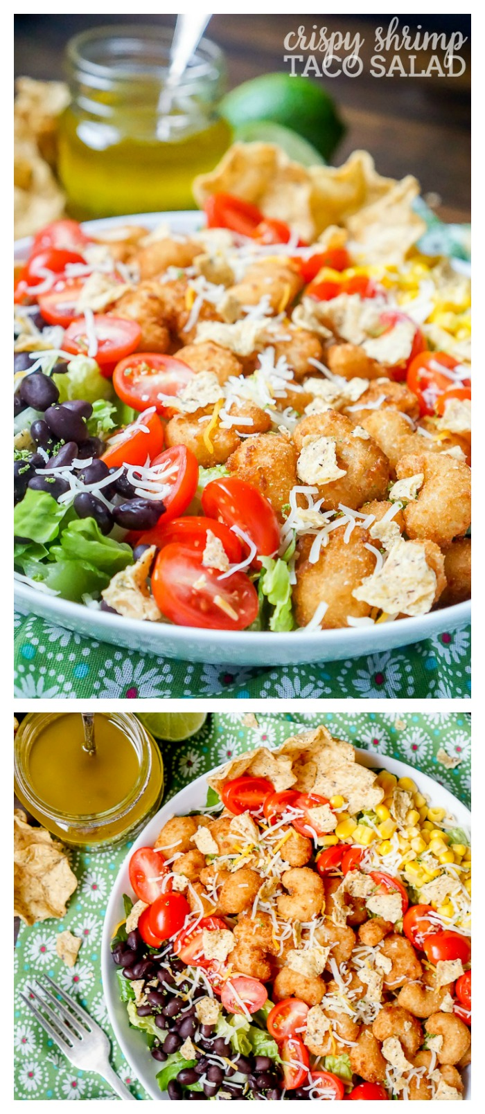 Crispy Shrimp Taco Salad Recipe with Honey Lime Vinaigrette - An easy weeknight dinner that's fresh and tasty! | The Love Nerds #ad #SNPSweepstakes #HealthyHeartPledge