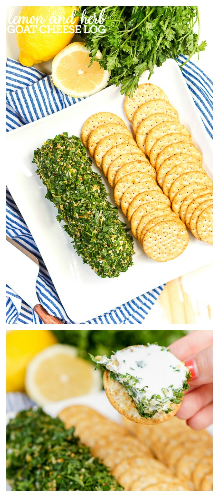 Lemon and Herb Goat Cheese Log - A light and refreshing appetizer that guests will love all year long! Plus, it's such an easy appetizer recipe to prep, it's a shame not to! | The Love Nerds
