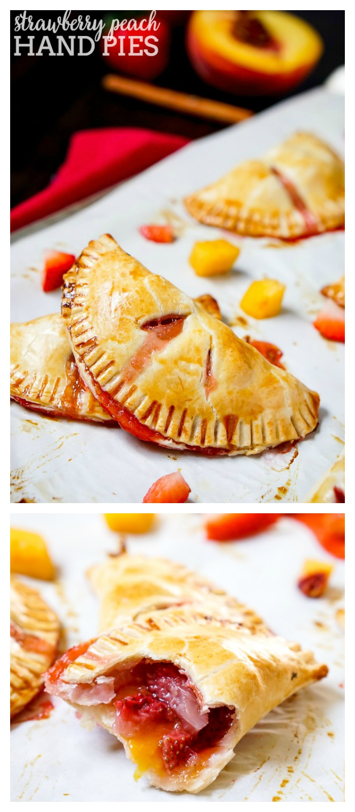 Strawberry Peach Hand Pies Recipe - Combine flavorful peaches with sweet strawberries to make a delicious hand pie filling! Fresh, tasty and easy to serve as party food! | The Love Nerds