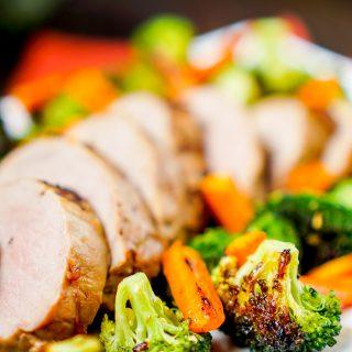 Sweet Teriyaki Pork with Garlic Oven Roasted Vegetables