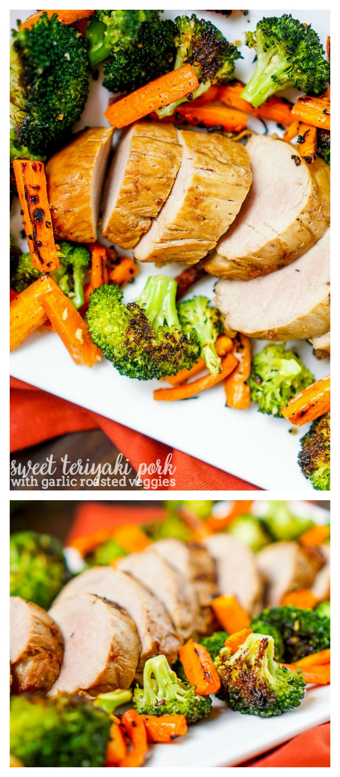Sweet Teriyaki Pork with Garlic Oven Roasted Vegetables - Make this delicious home cooked dinner idea in 30 minutes, making it an easy weeknight meal! | The Love Nerds #ad #RealFlavorRealFast @SmithfieldBrand