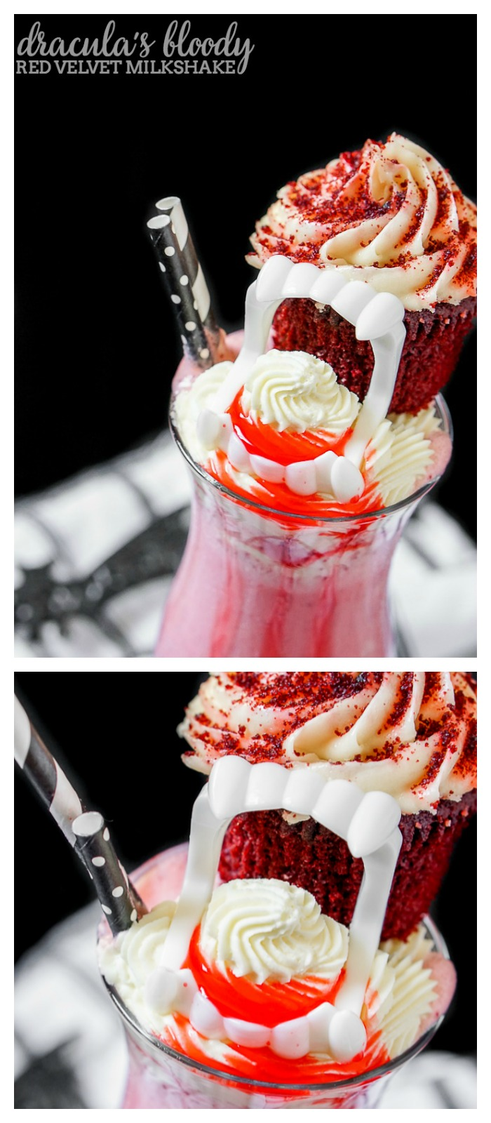 Dracula's Bloody Red Velvet Milkshake is a perfect Halloween dessert but you should definitely enjoy this milkshake recipe all year long! | The Love Nerds