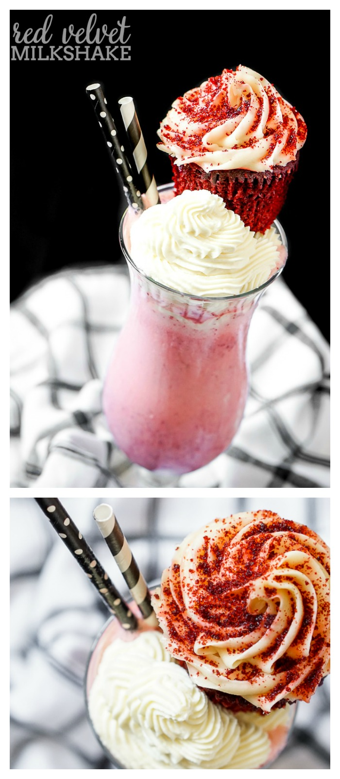 This Red Velvet Milkshake is a thick and creamy milkshake recipe that should be enjoyed all year long! Because let's be honest, milkshakes are always a good dessert recipe!| The Love Nerds