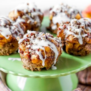 Apple Pie Cinnamon Roll Muffins - A classic dessert and breakfast sweet combine to make the perfect muffin!   The Love Nerds