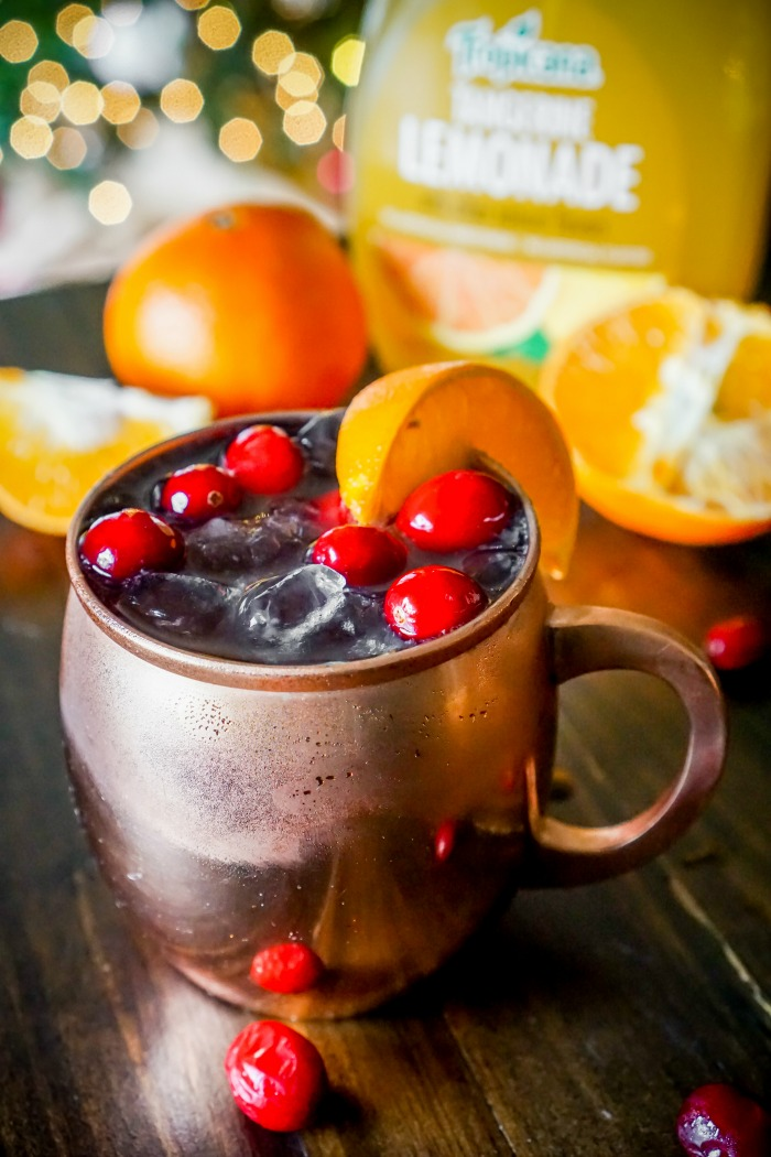 Cranberry Tangerine Lemonade Moscow Mule Recipe - Drink happy and festive with this cranberry citrus cocktail recipe using Tropicana® Tangerine Lemonade! | The Love Nerds #sponsored