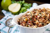 This Cranberry Pear Spinach Rice Pilaf Recipe is the perfect holiday side dish for Thanksgiving and Christmas!