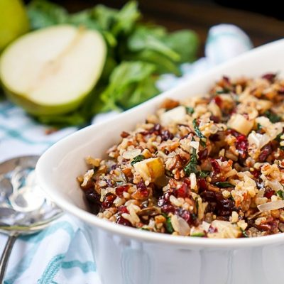Cranberry Pear Spinach Rice Pilaf