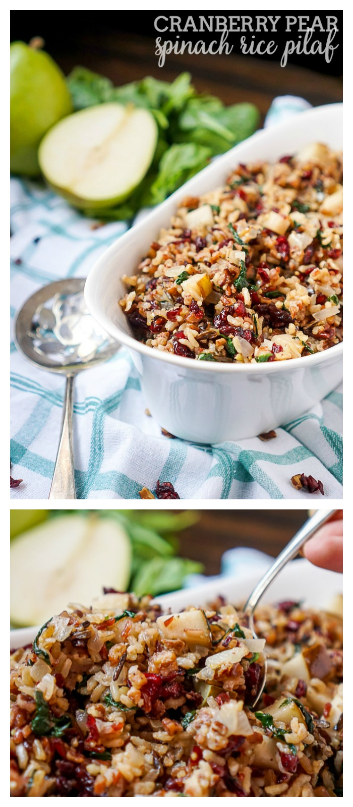 Cranberry Pear Spinach Rice Pilaf Recipe - A tasty rice recipe that makes a beautiful holiday side dish or an easy dinner idea if you just add chicken! |The Love Nerds AD VintageMinute