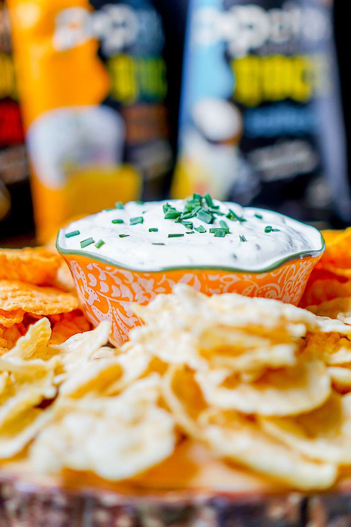 Greek Yogurt Fresh Herb Chip Dip makes party snacking easy and healthier, especially when you pair it with Pop Chips!| The Love Nerds AD #popchipsBigGame