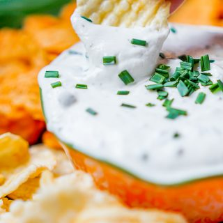 Greek Yogurt Fresh Herb Chip Dip Makes Healthy Snacking Easier