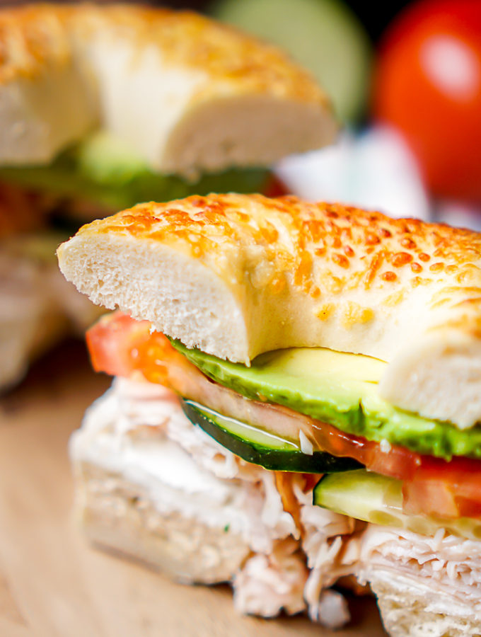 Veggie and Cream Cheese Turkey Bagel Sandwich - Spruce up lunch with a tasty bagel sandwich filled with delicious cream cheese, turkey and fresh veggies! | The Love Nerds