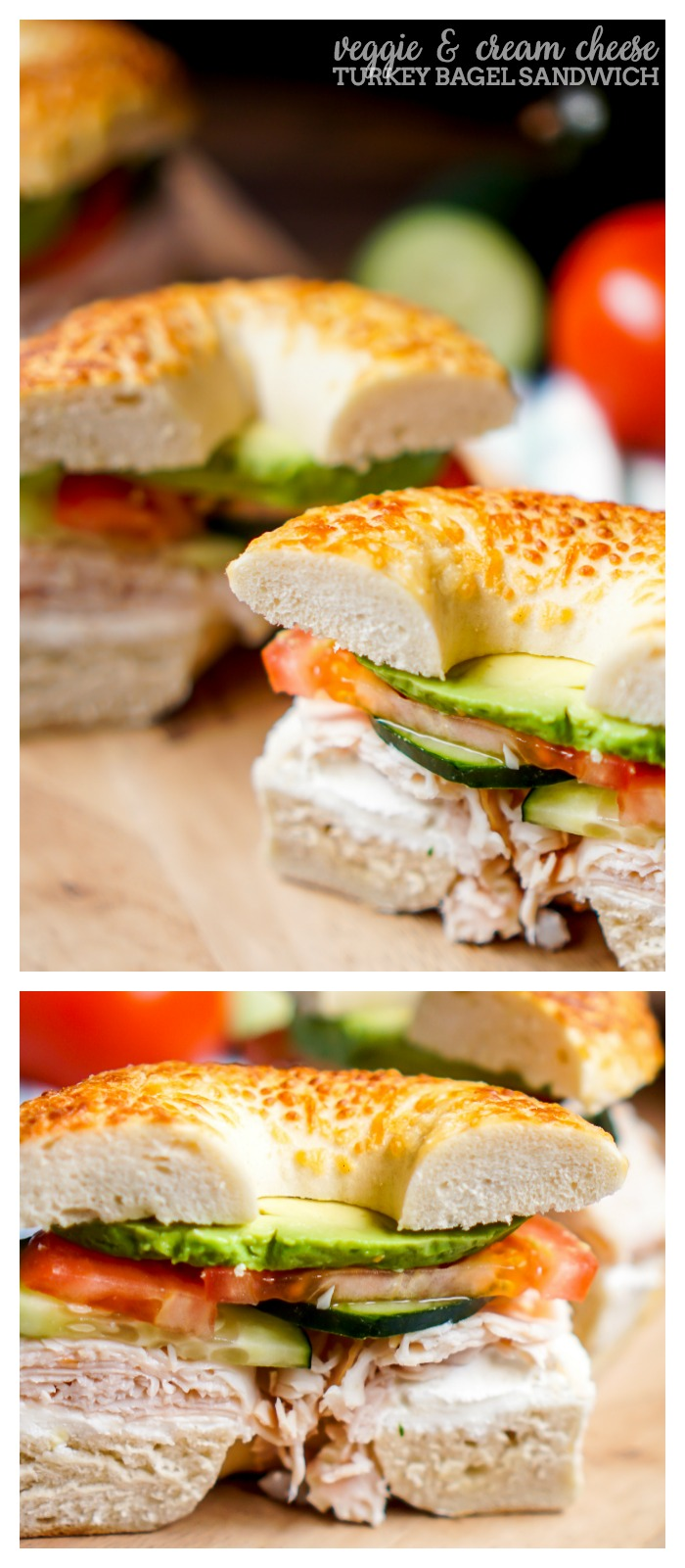 Veggie and Cream Cheese Turkey Bagel Sandwich - Spruce up lunch with a ...