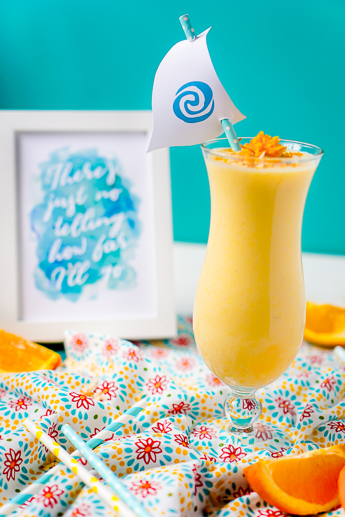 """Moana, Consider the Coconuts"" Orange Pineapple Coconut Smoothie Recipe - A flavorful, citrus smoothie that will make you think sun and warmth all year long! 