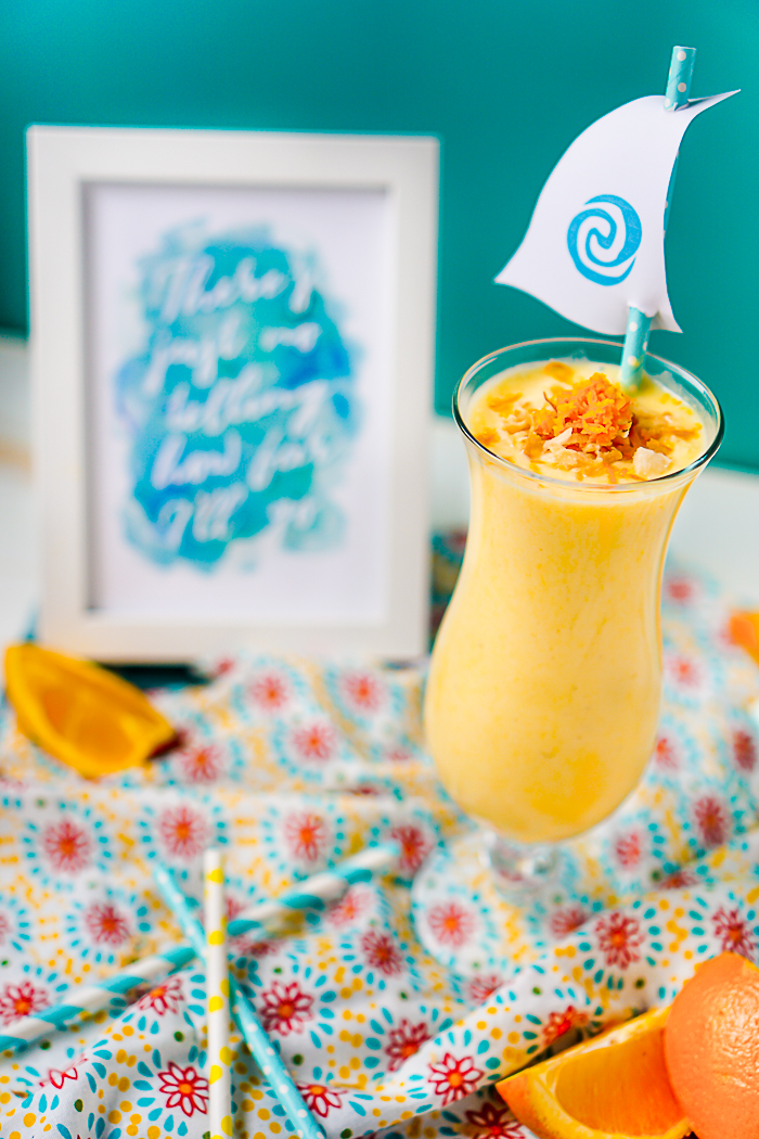 """""""Moana, Consider the Coconuts"""" Orange Pineapple Coconut Smoothie Recipe - A flavorful, citrus smoothie that will make you think sun and warmth all year long! 
