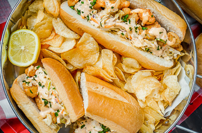 Popcorn Shrimp Po Boys Recipe with Remoulade Coleslaw - {Msg 4 21+} Easy dinner twist on classic New Orleans' sandwich recipe. Ready in 10 minutes with tons of flavor! | The Love Nerds AD #40PerfectPairings